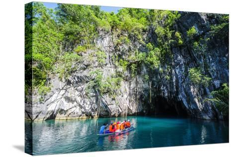 Tourist Entering on a Little Rowing Boat, Puerto Princessa Underground River, Palawan, Philippines-Michael Runkel-Stretched Canvas Print