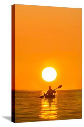 Washington, Woman Sea Kayaker Paddles on Puget Sound Near Deception Pass Bridge-Gary Luhm-Stretched Canvas Print