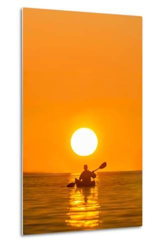 Washington, Woman Sea Kayaker Paddles on Puget Sound Near Deception Pass Bridge-Gary Luhm-Metal Print