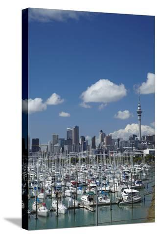 Westhaven Marina, and Sky Tower, Auckland, North Island, New Zealand-David Wall-Stretched Canvas Print