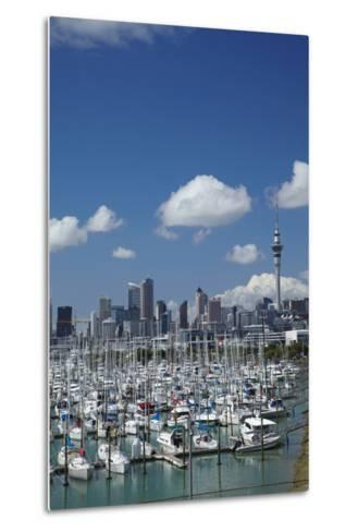 Westhaven Marina, and Sky Tower, Auckland, North Island, New Zealand-David Wall-Metal Print