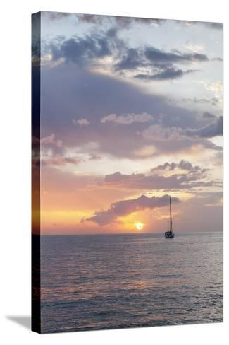 Sailing Boat at Sunset, Playa De Los Cristianos, Los Cristianos, Tenerife, Canary Islands, Spain-Markus Lange-Stretched Canvas Print