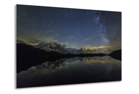 Stars and Milky Way Illuminate the Snowy Peaks and Lac De Cheserys, France-Roberto Moiola-Metal Print