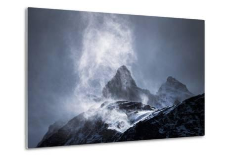 Wind Sweeping Snow Off Mountains, Torres Del Paine National Park, Patagonia, Chile, South America-Matthew Williams-Ellis-Metal Print