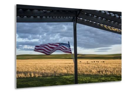 Whitman County, Lacrosse, Pioneer Stock Farm, View from Fran Jones Home of Flag and Pasture-Alison Jones-Metal Print