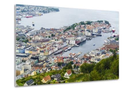 View over the City from Mount Floyen, Bergen, Norway, Scandinavia, Europe-Amanda Hall-Metal Print