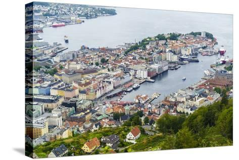 View over the City from Mount Floyen, Bergen, Norway, Scandinavia, Europe-Amanda Hall-Stretched Canvas Print