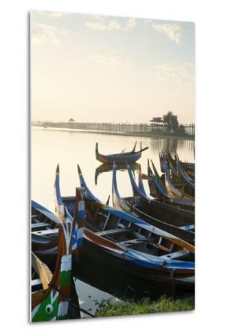 Boats on the Taungthaman Lake Near Amarapura with the U Bein Teak Bridge Behind, Myanmar (Burma)-Alex Robinson-Metal Print