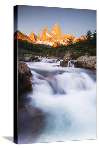 Sunrise Mount Fitz Roy (Cerro Chalten) and Waterfall on Lago De Los Tres Hike, Patagonia, Argentina-Matthew Williams-Ellis-Stretched Canvas Print