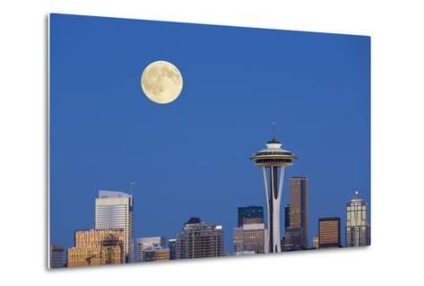 Wa, Seattle, Skyline View from Kerry Park, with Full Moon-Jamie And Judy Wild-Metal Print