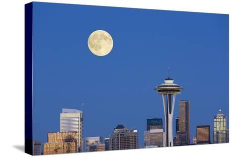 Wa, Seattle, Skyline View from Kerry Park, with Full Moon-Jamie And Judy Wild-Stretched Canvas Print