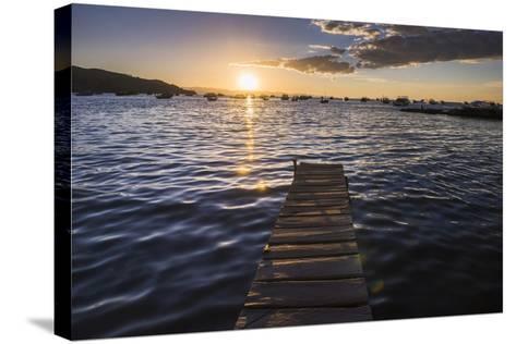 Lake Titicaca Pier at Sunset, Copacabana, Bolivia, South America-Matthew Williams-Ellis-Stretched Canvas Print