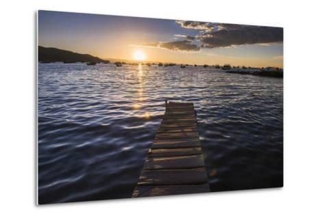 Lake Titicaca Pier at Sunset, Copacabana, Bolivia, South America-Matthew Williams-Ellis-Metal Print
