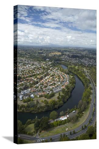 Waikato River and Cobham Drive, Hamilton, Waikato, North Island, New Zealand, Aerial-David Wall-Stretched Canvas Print