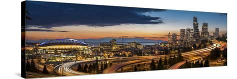 Washington, Seattle. Sweeping Sunset View over Downtown Seattle-Gary Luhm-Stretched Canvas Print