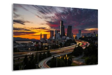 Washington, Seattle. Sunset View of Downtown over I-5 from the Jose Rizal Bridge-Gary Luhm-Metal Print