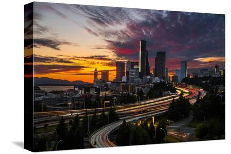 Washington, Seattle. Sunset View of Downtown over I-5 from the Jose Rizal Bridge-Gary Luhm-Stretched Canvas Print