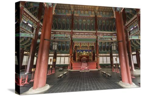 Vivid Colours of Imperial Throne Hall (Geunjeongjeon) Interior, Seoul, South Korea-Eleanor Scriven-Stretched Canvas Print