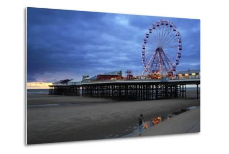 Big Wheel and Amusements on Central Pier at Sunset with Young Women Looking On, Lancashire, England-Rosemary Calvert-Metal Print