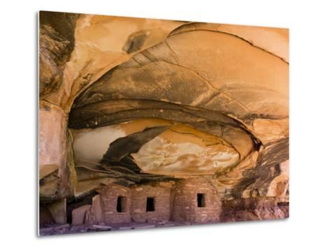 USA, Utah, Blanding. Fallen Roof Ruin in Road Canyon on Cedar Mesa-Charles Crust-Metal Print