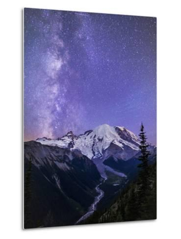 Washington, White River Valley Looking Toward Mt. Rainier on a Starlit Night with the Milky Way-Gary Luhm-Metal Print
