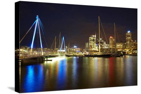 Wynyard Crossing Bridge and Cbd, Auckland Waterfront, North Island, New Zealand-David Wall-Stretched Canvas Print