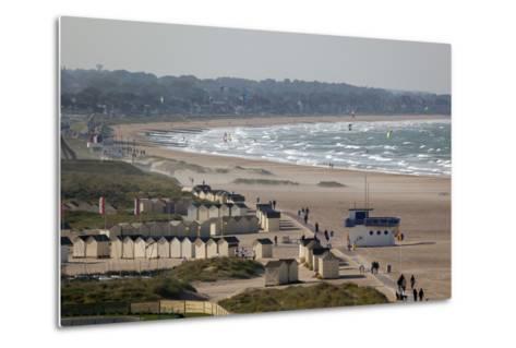 View over Plage De Riva Bella Beach, Ouistreham, Normandy, France, Europe-Stuart Black-Metal Print