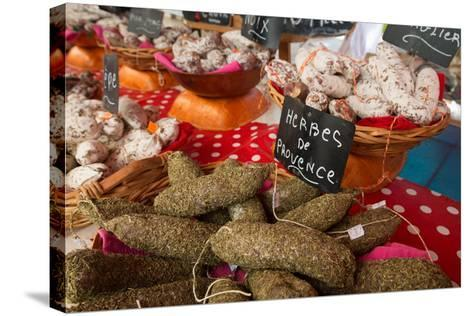 Traditional Sausages for Sale in an Open Air Market in the Historic Town of Cassis, France-Martin Child-Stretched Canvas Print