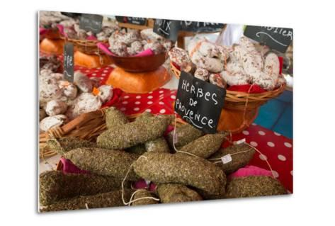 Traditional Sausages for Sale in an Open Air Market in the Historic Town of Cassis, France-Martin Child-Metal Print