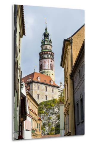 View Through the Gothic House Facades to the Krumlov Castle, Cesky Krumlov, Czech Republic, Europe-Michael Runkel-Metal Print