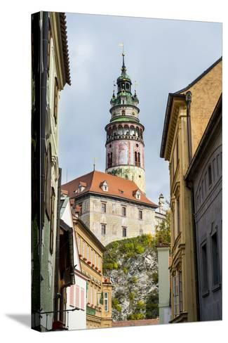 View Through the Gothic House Facades to the Krumlov Castle, Cesky Krumlov, Czech Republic, Europe-Michael Runkel-Stretched Canvas Print