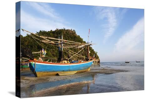 Fishing Boats at Sunset, Thailand-Christian Kober-Stretched Canvas Print