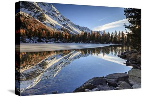 Colourful Woods are Reflected in Saoseo Lake Still Partially Frozen, Switzerland-Roberto Moiola-Stretched Canvas Print