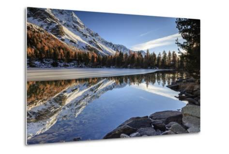 Colourful Woods are Reflected in Saoseo Lake Still Partially Frozen, Switzerland-Roberto Moiola-Metal Print