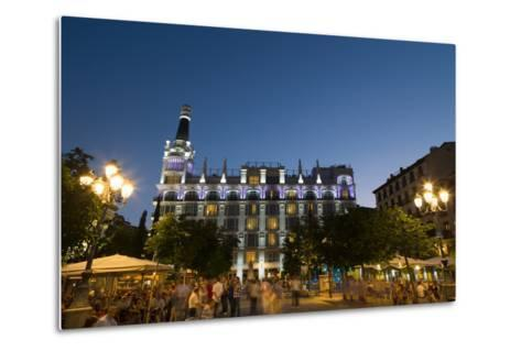 People Relaxing in In the Evening in Plaza De Santa Ana in Madrid, Spain, Europe-Martin Child-Metal Print
