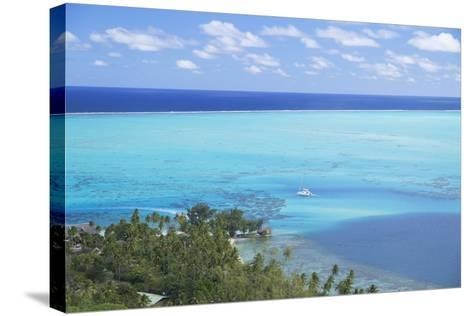 View of Yacht in Lagoon, Bora Bora, Society Islands, French Polynesia, South Pacific, Pacific-Ian Trower-Stretched Canvas Print