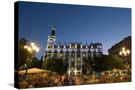 People Relaxing in In the Evening in Plaza De Santa Ana in Madrid, Spain, Europe-Martin Child-Stretched Canvas Print