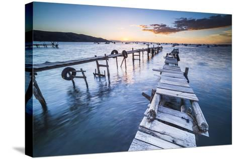 Lake Titicaca Pier at Sunset, Copacabana, Bolivia, South America-Matthew Williams-Ellis-Stretched Canvas Print