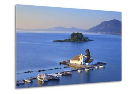 Elevated View to Vlacherna Monastery and the Church of Pantokrator on Mouse Island, Greek Islands-Neil Farrin-Metal Print