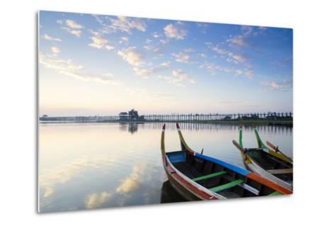 U Bein Teak Bridge and the Taungthaman Lake Near Amarapura, Mandalay, Myanmar (Burma)-Alex Robinson-Metal Print
