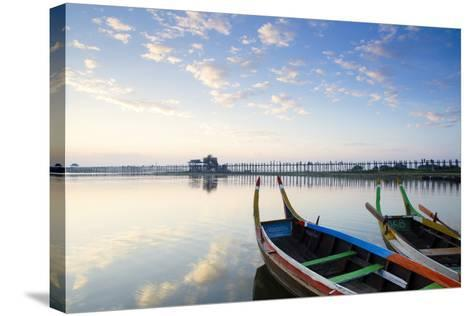 U Bein Teak Bridge and the Taungthaman Lake Near Amarapura, Mandalay, Myanmar (Burma)-Alex Robinson-Stretched Canvas Print