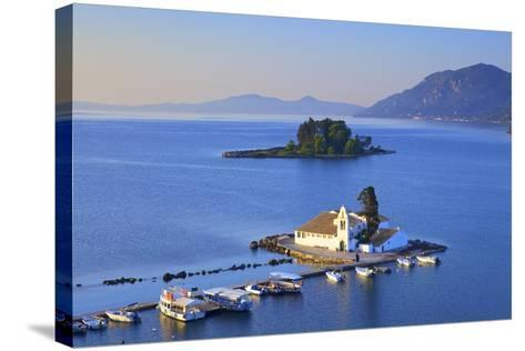 Elevated View to Vlacherna Monastery and the Church of Pantokrator on Mouse Island, Greek Islands-Neil Farrin-Stretched Canvas Print
