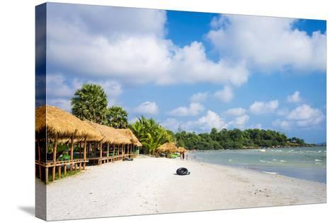 Thatched Huts with Hammocks Along Ochheuteal Beach, Preah Sihanouk Province, Cambodia-Jason Langley-Stretched Canvas Print