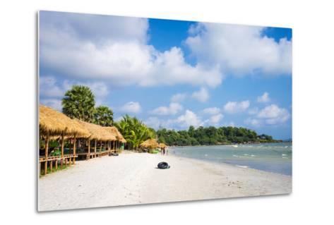 Thatched Huts with Hammocks Along Ochheuteal Beach, Preah Sihanouk Province, Cambodia-Jason Langley-Metal Print