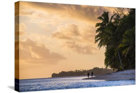 Walking Along a Tropical Beach at Sunset, Rarotonga, Cook Islands, South Pacific, Pacific-Matthew Williams-Ellis-Stretched Canvas Print