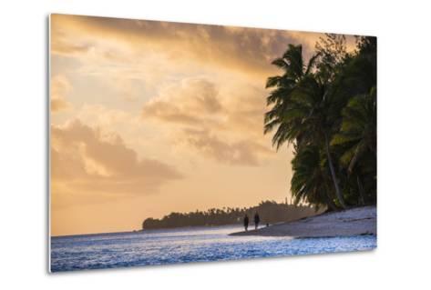 Walking Along a Tropical Beach at Sunset, Rarotonga, Cook Islands, South Pacific, Pacific-Matthew Williams-Ellis-Metal Print