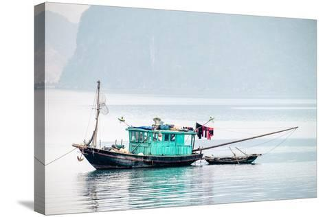Boats in Ha Long Bay on a Foggy Morning, Quang Ninh Province, Vietnam, Indochina, Southeast Asia-Jason Langley-Stretched Canvas Print