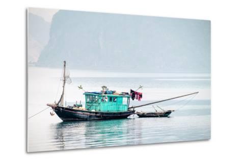 Boats in Ha Long Bay on a Foggy Morning, Quang Ninh Province, Vietnam, Indochina, Southeast Asia-Jason Langley-Metal Print