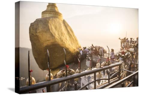 Prayer Bells at Sunset at Golden Rock Stupa (Kyaiktiyo Pagoda), Mon State, Myanmar (Burma), Asia-Matthew Williams-Ellis-Stretched Canvas Print