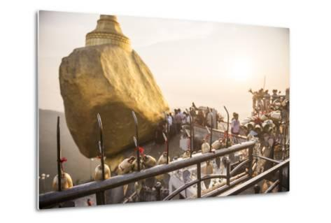 Prayer Bells at Sunset at Golden Rock Stupa (Kyaiktiyo Pagoda), Mon State, Myanmar (Burma), Asia-Matthew Williams-Ellis-Metal Print